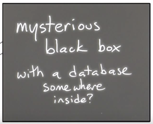 "partial screenshot. ""mysterious black box, with a database somewhere inside?"""